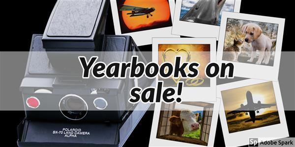 Picture of camera with polaroid pictures announcing yearbook sale