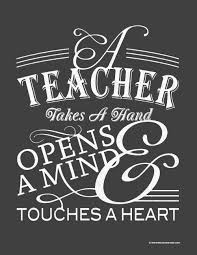 Chalkboard drawing of a teacher takes a hand opens a mind & touches a heart