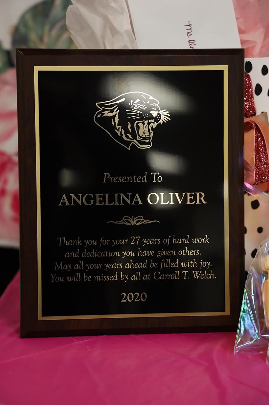 Plaque presented to Ms. Oliver