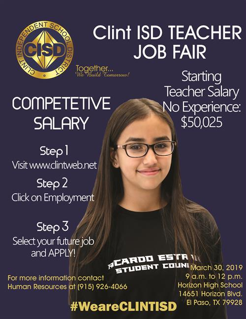 Clint ISD Teacher Job Fair Flyer