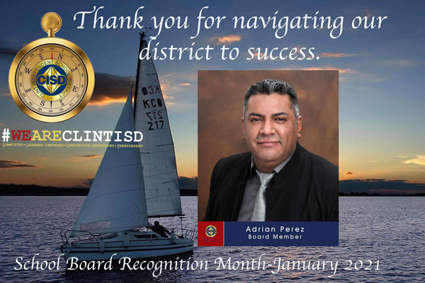 Thank you Adrian Perez Board Member
