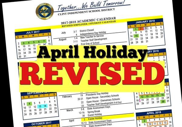 April Holiday Revised