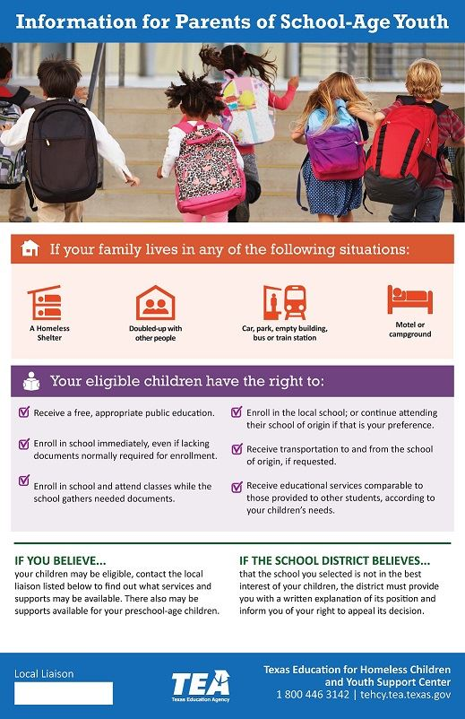 Picture of McKinney-Vento Homeless Education Program Requirements in English for Parents/Guardians