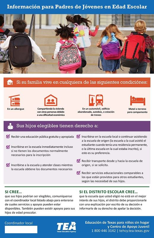 Picture of McKinney-Vento Homeless Education Program Requirements in Spanish for Parents/Guardians