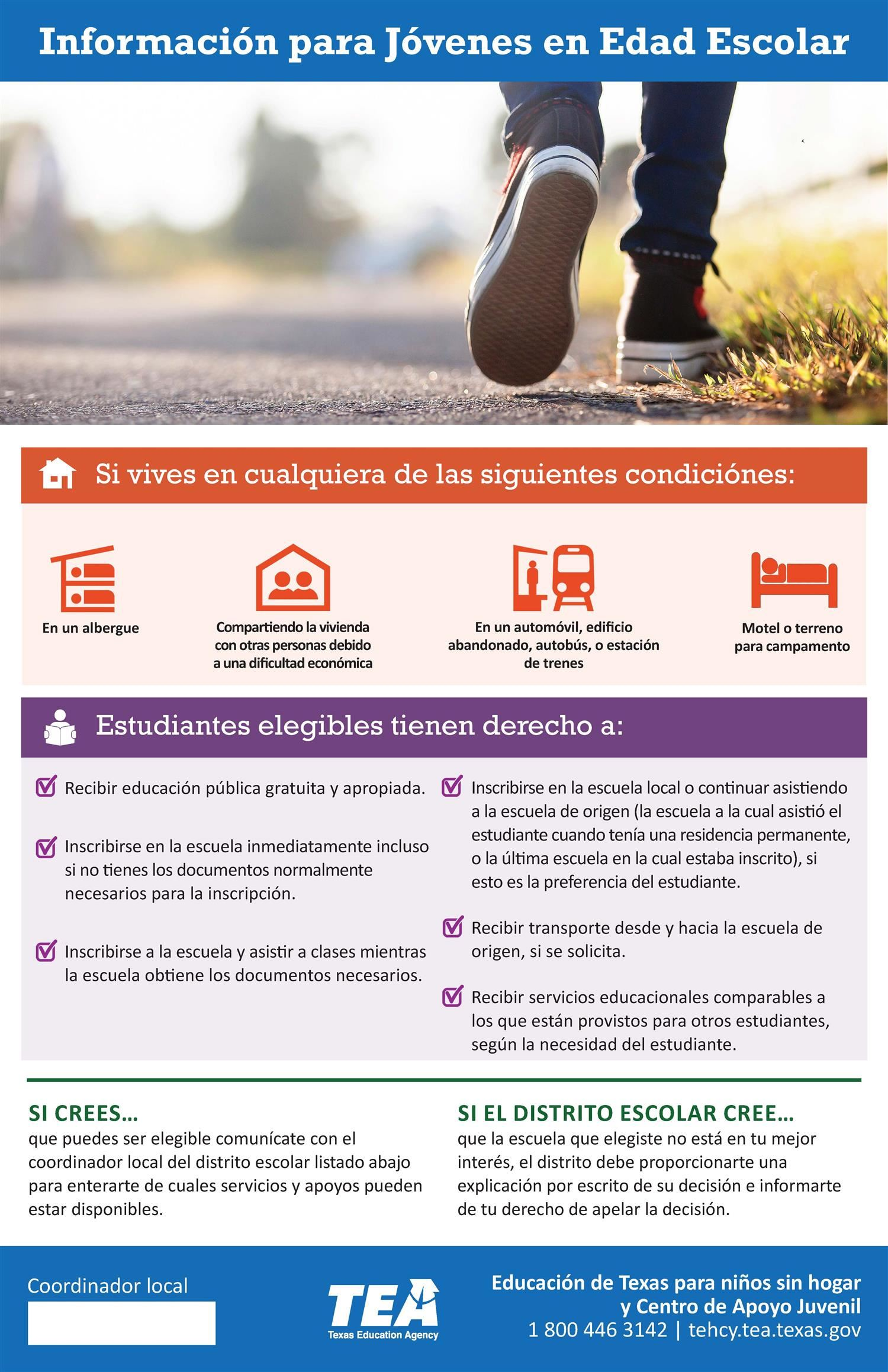 Picture of McKinney-Vento Homeless Education Program Requirements in Spanish for Youth